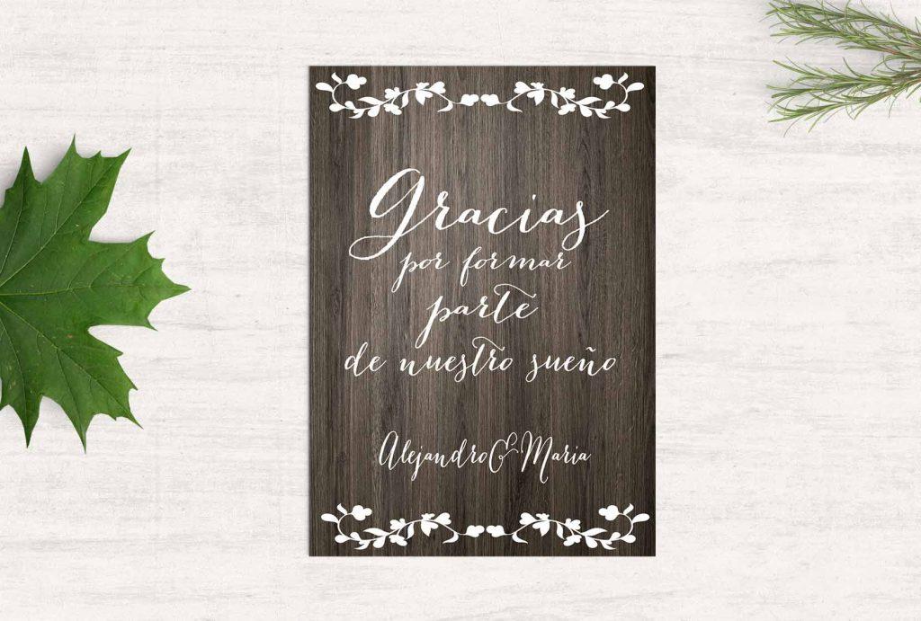 tarjetas de boda u madera precio por pack