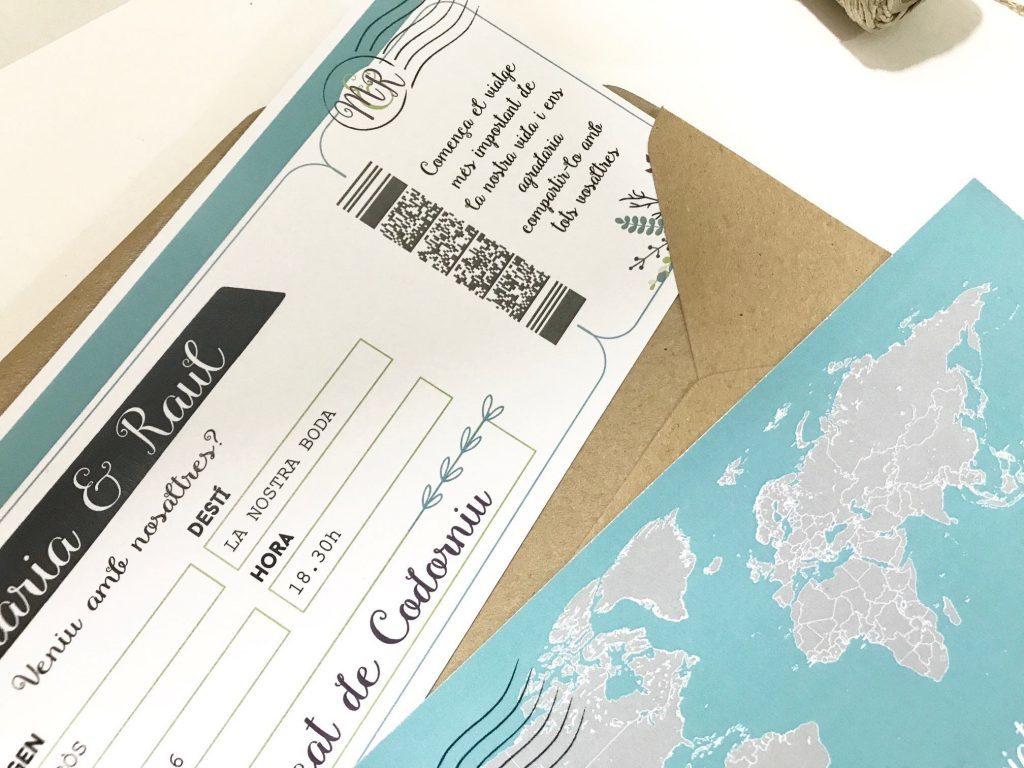 invitacion de boda boarding pass detalle mapa